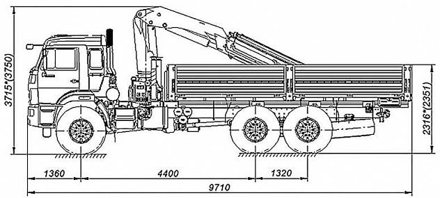 Бортовой автомобиль 65861-001-01 с КМУ PALFINGER PK 15500A на шасси КАМАЗ-43118